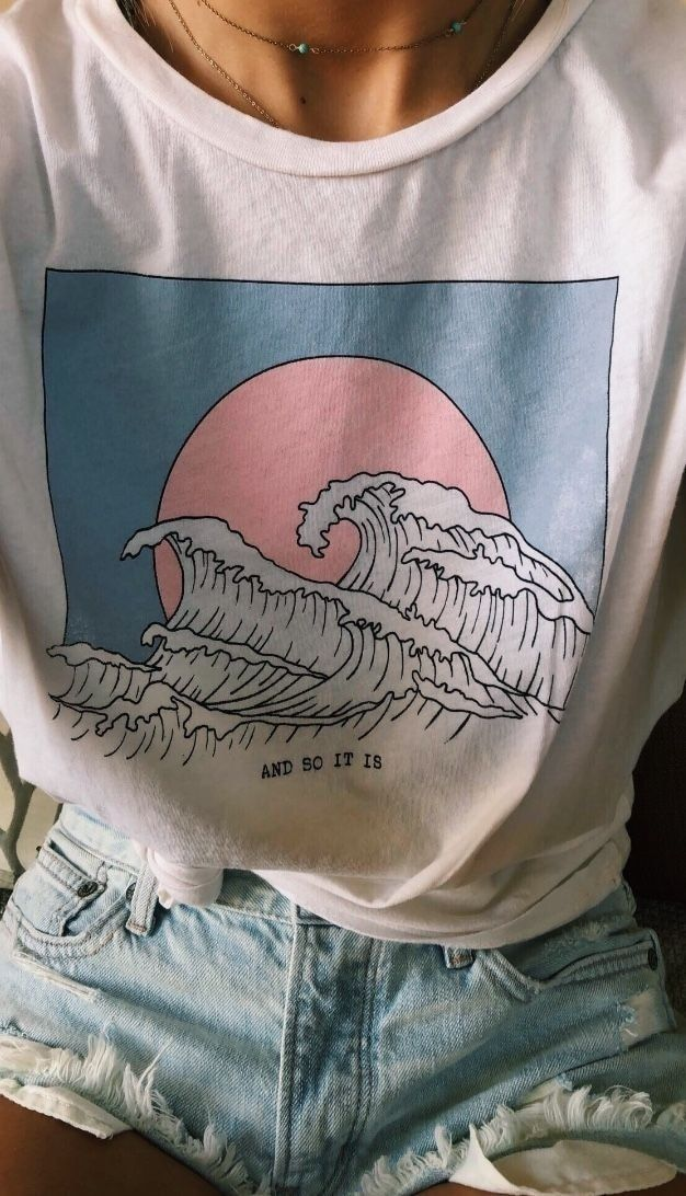 HahayuleAnd So It Is Ocean Wave esthétique T-Shirt femmes Tumblr 90 s mode blanc Tee mignon été hauts