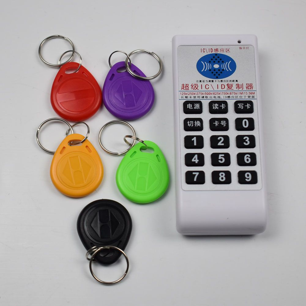 NFC RFID 13.56Mhz 125khz IC ID Copier Duplicator Cloner reader writer Support 9 Frequency + 5pcs EM4305 Changable Tags