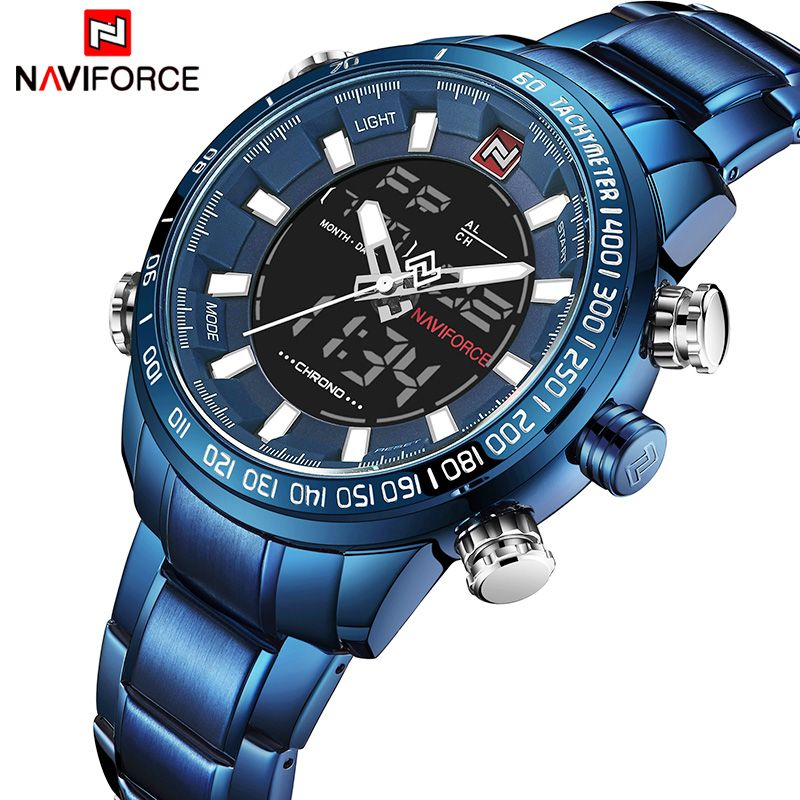 2018 Men Watches NAVIFORCE Luxury Brand Army Military Sport Watch Men Full Steel Quartz Digital Analog Clock Relogio Masculino