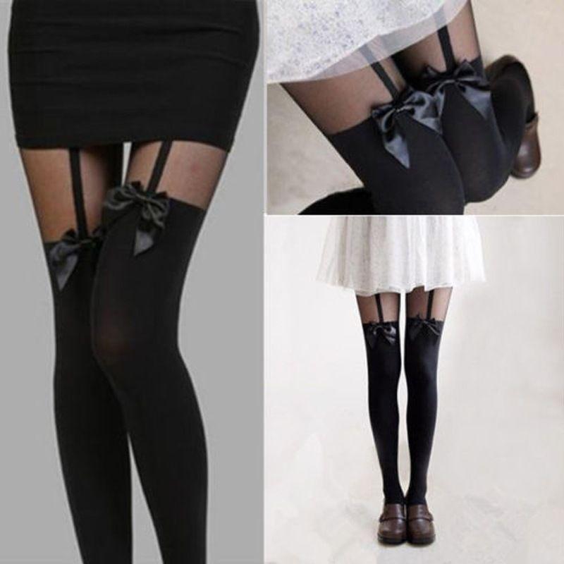 Мода 2016 года новые пикантные женские модные Горячее предложение личности чулок бантом чулок Sheer колготки плотные