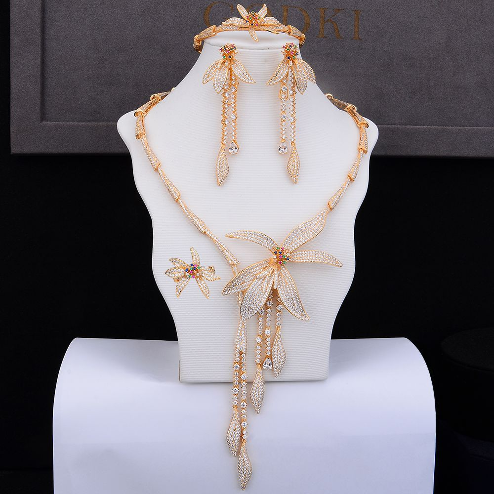 GODKI Luxury Flower Tassel Drop 4PC Nigerian Jewelry Sets For Women Wedding Zircon Crystal CZ Indian African Bridal Jewelry Sets
