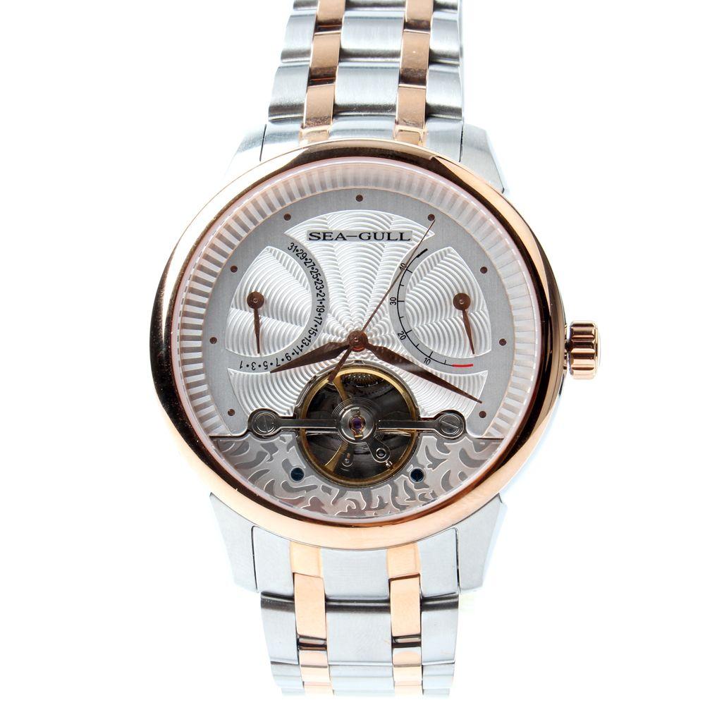 Seagull Flywheel Retrograde Date 40 Hours Power Reserve Guilloche Two Tone Bracelet Automatic Men's Business Watch 217.412