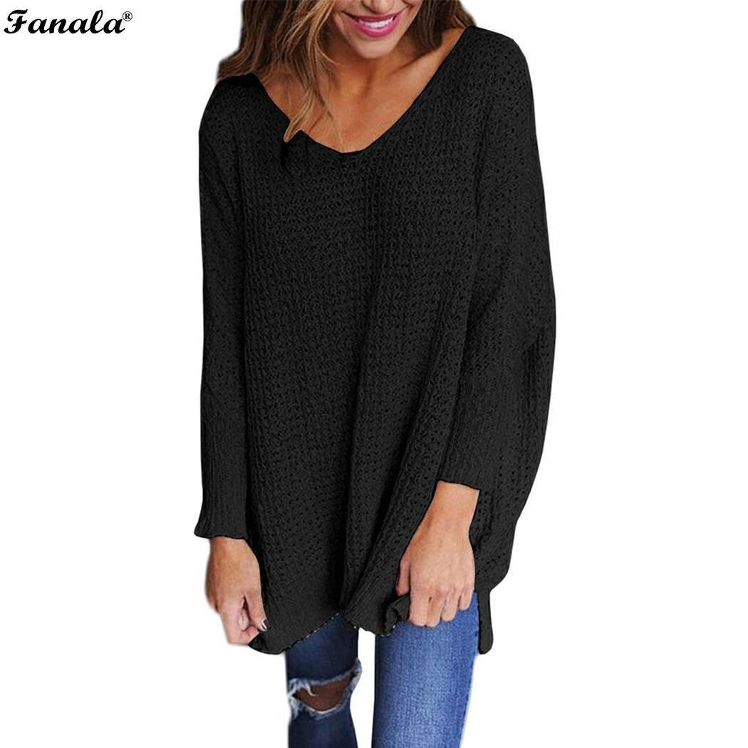 Casual Loose Sweater Women 2018 Spring Knitted Sweater Long Sleeve V-neck Ruffle Knitting Pullover Top European Style Plus Size