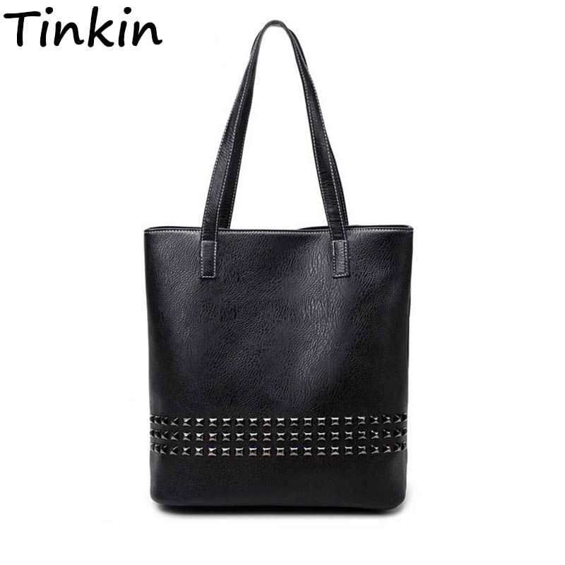 Tinkin PU Leather Female Handbag Autumn Bag <font><b>Large</b></font> Size Women Shoulder Bag Daily Vintage Women Bag Causal Rivet Bag