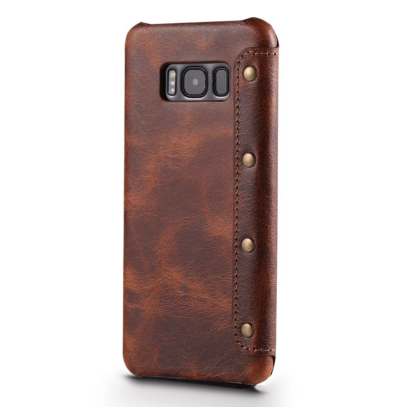 Solque Real Genuine Leather Flip Cover Case For Samsung Galaxy S8 Plus S 8 Cell Phone Luxury Retro Vintage Leather Wallet Cases