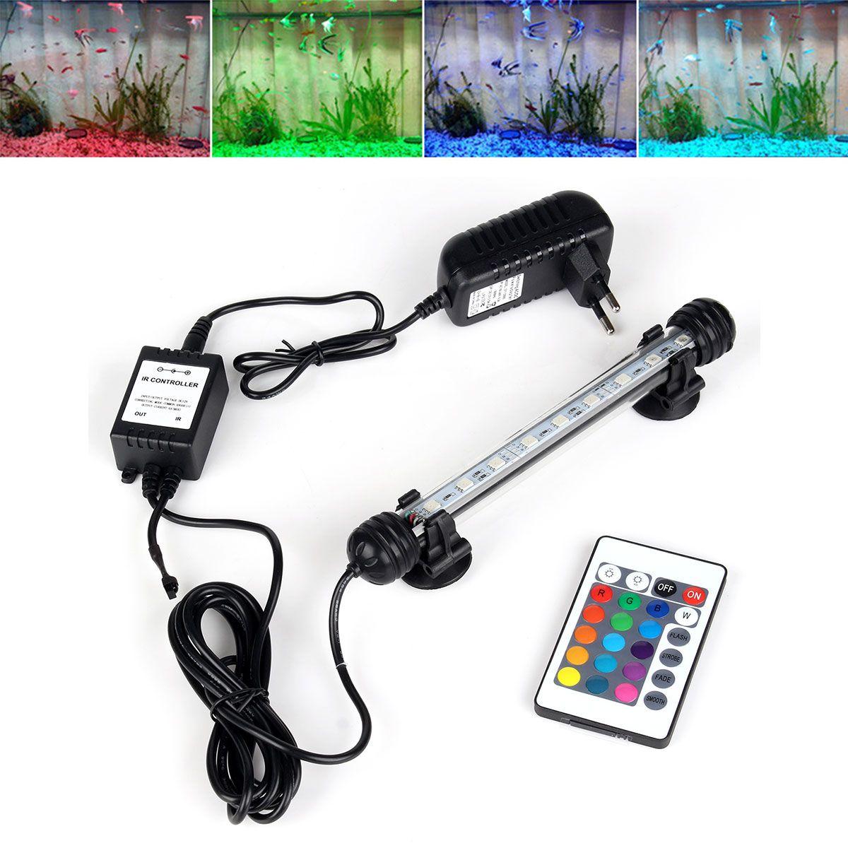 UE Plug Acuario Luz LED Remoto RGB Impermeable 5050 SMD LED Barra de Luz de La Lámpara Sumergible