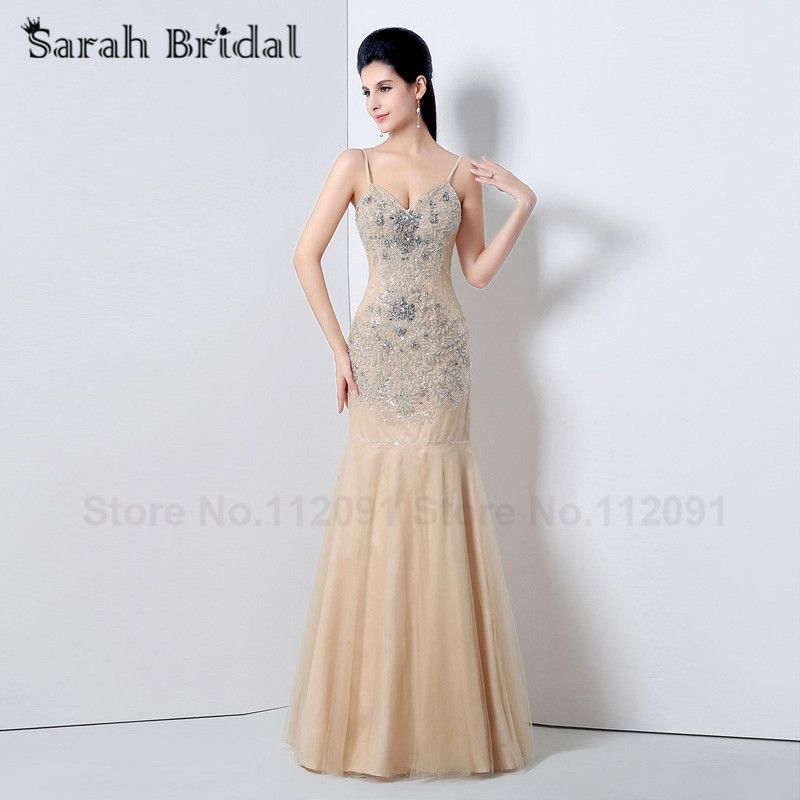Luxury Beading Champagne Tulle Evening Dresses Backless 2017 Long Crystal Mermaid Party Gowns vestidos de festa JS008