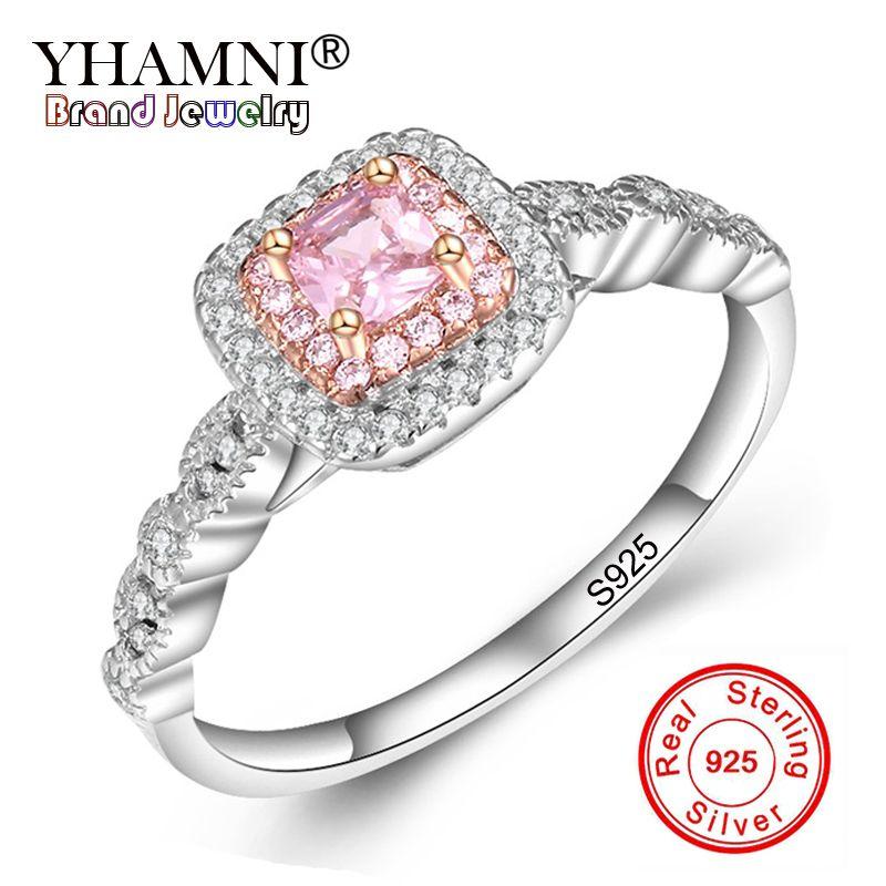 YHAMNI Original Fine Jewelry Real 925 Sterling Silver Rings Set Pink Gem Stone CZ Luxury Wedding Rings for Women Gift JZR201
