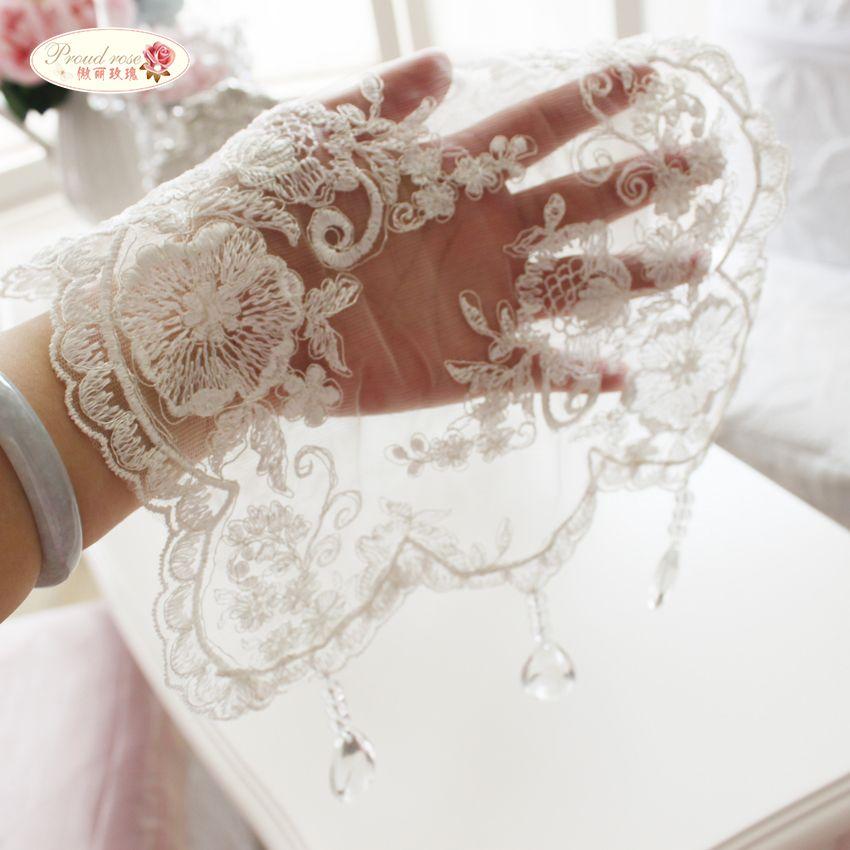 Fier Rose Coréenne Princesse nappe en dentelle Transparent pendentif en cristal Chemin de Table Blanc Brodé Chemin de Table pour le Mariage