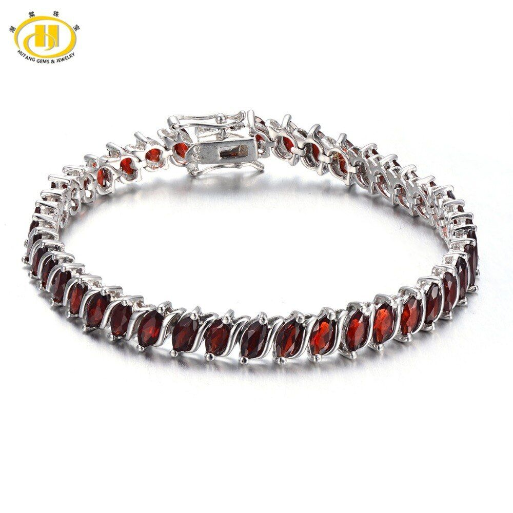 Hutang Fashion 11.52Ct Natural Garnet Link Bracelets Solid 925 Sterling Silver Women's Real Gemstone Bangle Fine Jewelry Gift