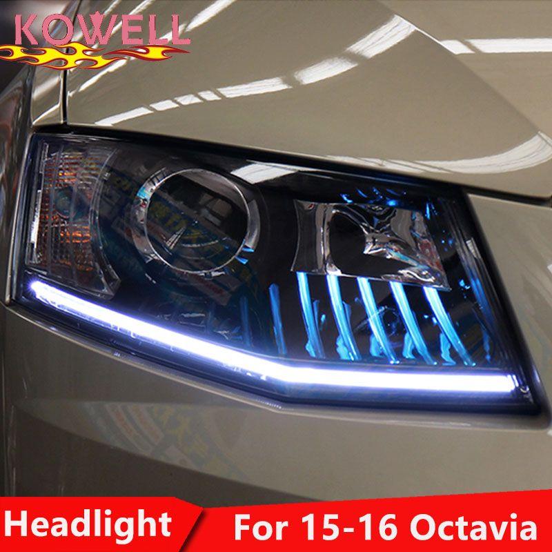 KOWELL Auto Styling Kopf Lampe für Skoda Octavia Scheinwerfer Led-scheinwerfer ANGEL EYES DRL Bi-Xenon Objektiv VERSTECKTE Automobil zubehör