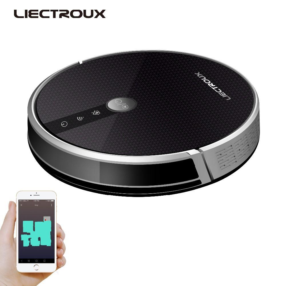 LIECTROUX Roboter Staubsauger C30B, 3000 Pa Saug, 2D Karte Navigation, mit Speicher, WiFi App, elektrische Wasser Tank, Bürstenlosen Motor