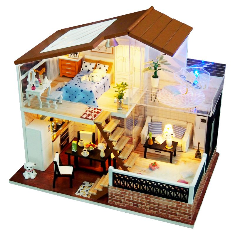 Miniature Piano Doll Houses DIY Wooden Doll House Miniaturas dollhouse Furniture Kit Toys for Children Birthday Christmas Gifts