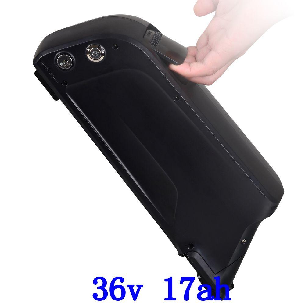 UNS EU Kostenloser Steuer 36 v 500 watt Unten rohr fahrrad batterie 36 v 17AH mit USB Port Verwenden Panasonic 3400 mah zelle with15A BMS und 2A ladegerät