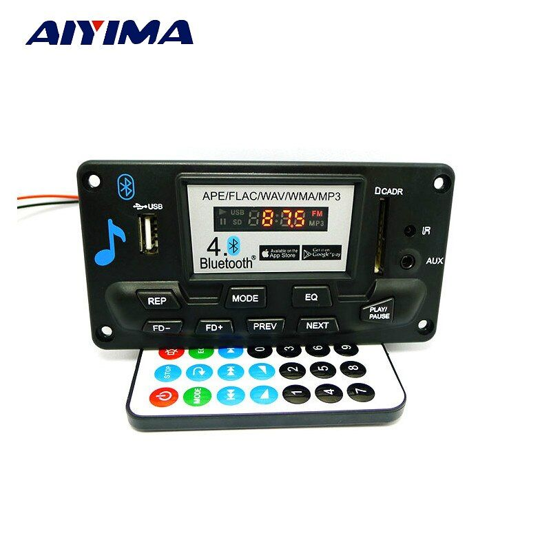 Aiyima High Quality MP3 WAV WMA APE Bluetooth 4.0 Audio Decoder Board With Recording 12V