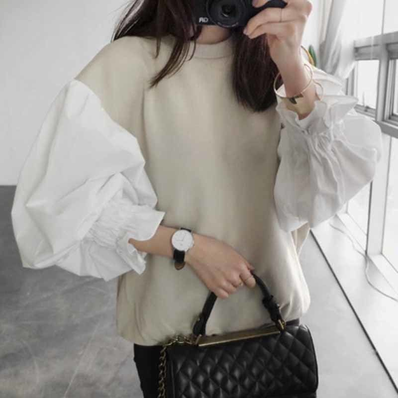LANMREM 2018 Autumn Fashion New Round Neck Lantern Sleeve Women's Split Joint Short Sweatshirt Japan And South Korea Tops LS072