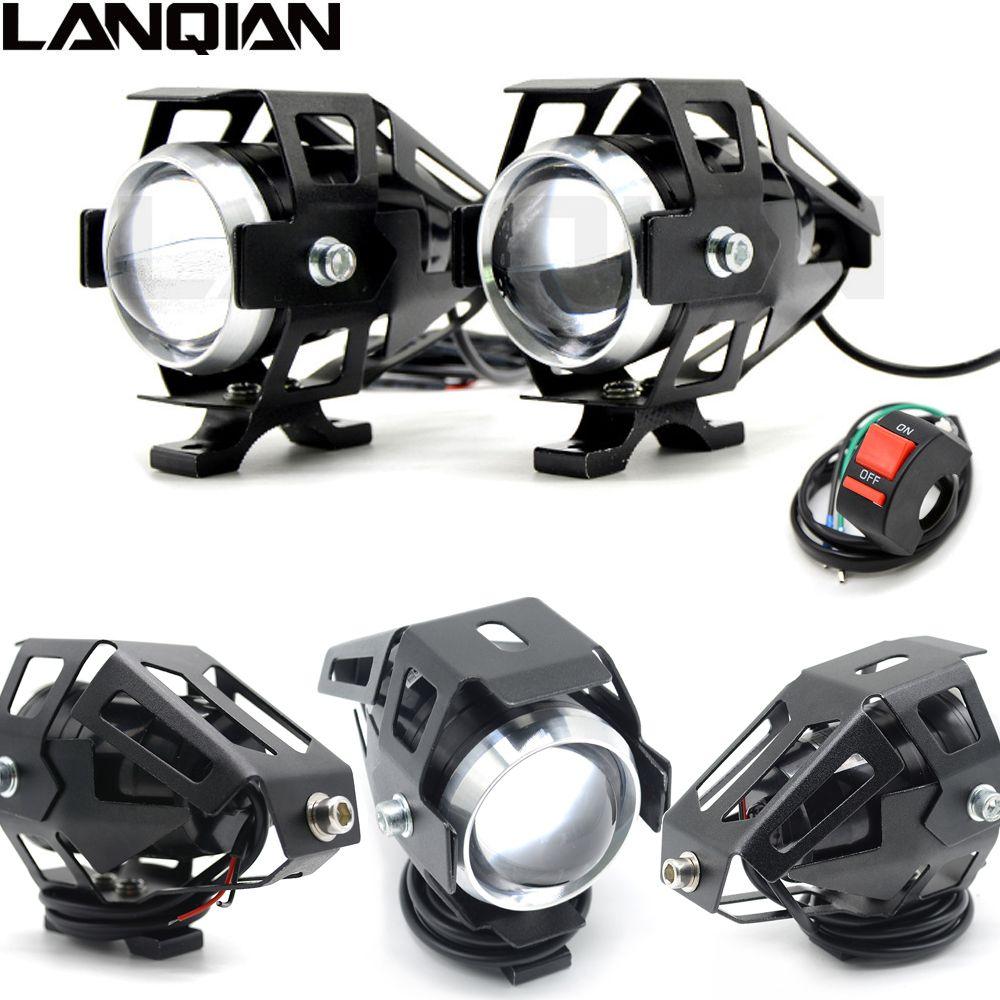 Universal 2 PCS 125W Motorcycle LED Headlight 3000LMW chip U5 Motorbike Driving <font><b>Spotlight</b></font> Street Moto Fog Spot Head Light Lamp