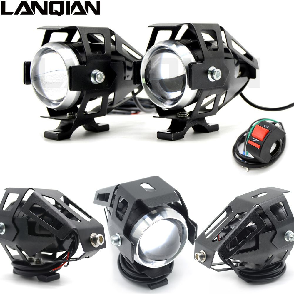 Universel 2 pièces 125 W Moto phare LED 3000LMW puce U5 Moto conduite projecteur rue Moto brouillard Spot lampe frontale
