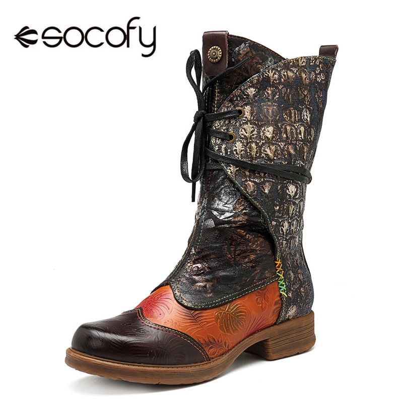 Socofy Genuine Leather Mid-calf Western Boots Women Shoes Woman Vintage Casual Lace-up Cowboy Winter Boots For Girls Botas Mujer
