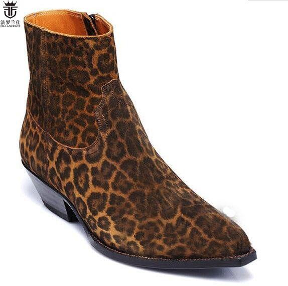 2018 FR.LANCELOT Brand Design Leopard Real Leather Suede Men Shoes Side Zipper Flats Shoes Mens Pointed Toe