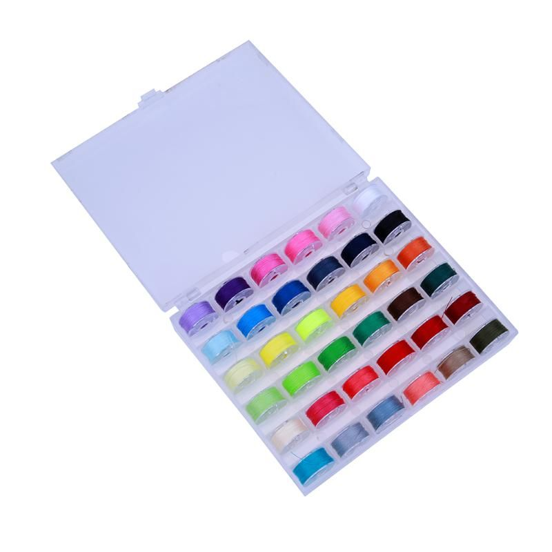 Colorful 36 Grid Storage Case Box With Sewing Thread 36 Pcs Empty Colorful Bobbins Spool for Brother Janome Singer Elna