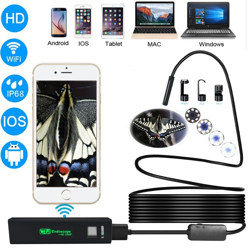 Wireless Wifi Endoscope Camera HD 1200P Waterprof <font><b>Semi</b></font> Rigid Tube Endoscope Borescope Video snake Inspection for Android/iOS