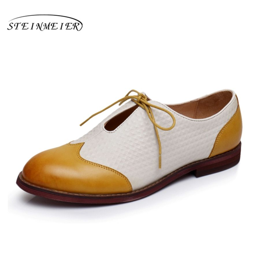 100% Genuine sheepskin leather brogues yinzo lady flats casual shoes handmade green black yellow vintage oxford shoes for women