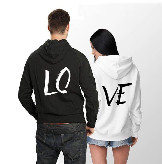 Surdimensionné femmes et hommes Streetwear LO VE lettre imprimé Sweatshirts à capuche lâche manches longues Couple porter Moleton survêtement pull