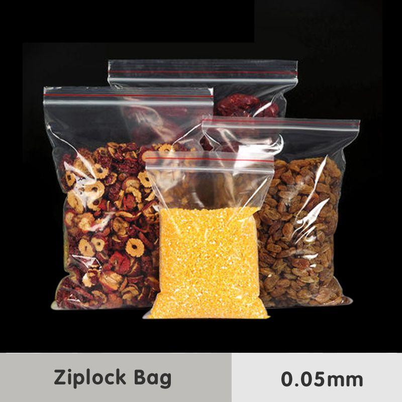 0.05mm Zip Serrure Poignée En Plastique Transparent Sacs D'emballage Alimentaire PE Grade Snacks Sucrerie De Cuisson Médical Auto-Étanche Paquet De Stockage