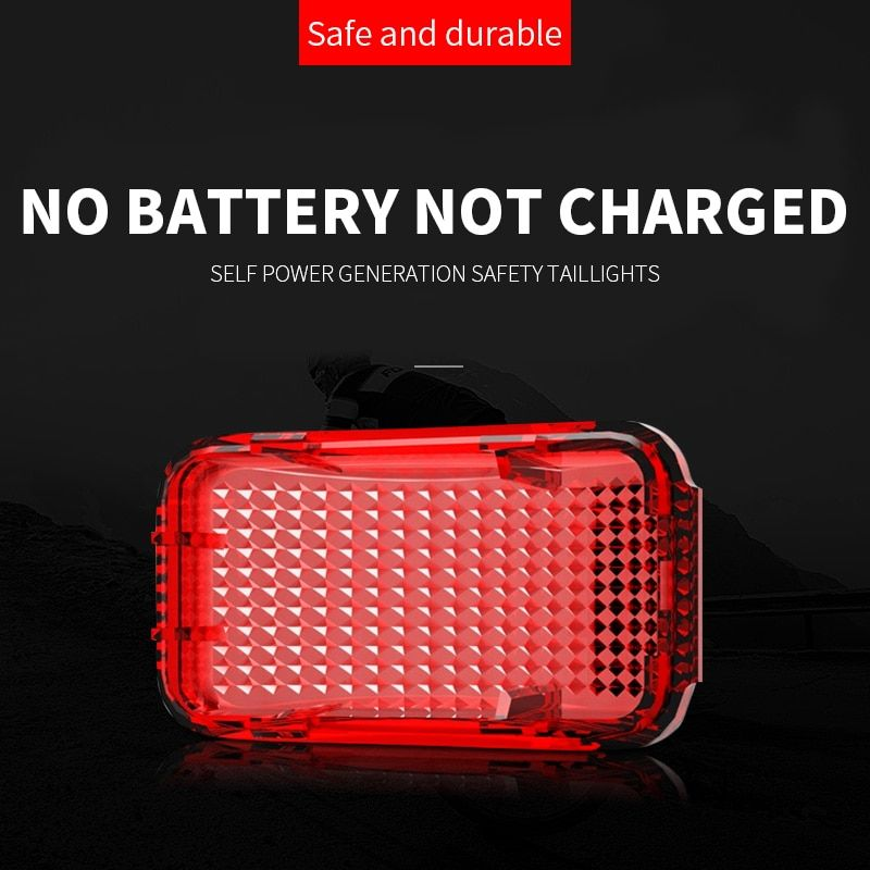 Magnetic self-generating mountain bike rear tail lights night riding safety warning lights cycling flash without battery