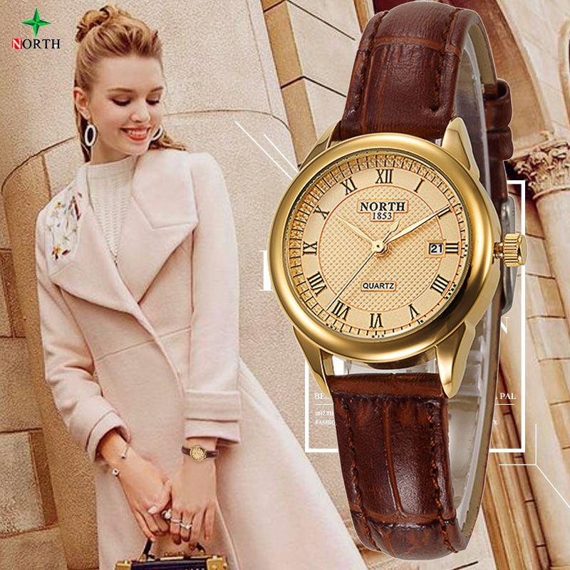 NUEVO de Las Mujeres de Moda Casual Reloj 30 M Impermeable De Lujo A Estrenar Vestido de Oro Reloj de Mujer de Cuarzo Relojes de Señoras DEL NORTE Nontre femme