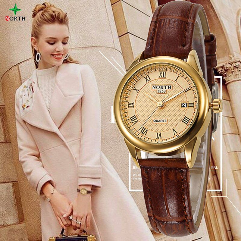 Nueva moda mujer reloj ocasional 30 m impermeable marca de lujo cuarzo relojes señoras Norte oro vestido reloj nontre femme