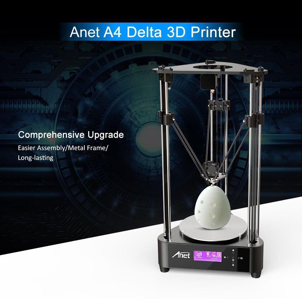 Anet A4 Delta 3D Printer 3D DIY Printer Kit Printing Size 200 * 210mm Machine Box Easy to Assemble Impresora 3D Pulley Version