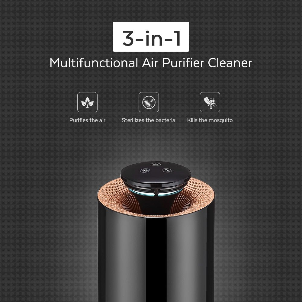 Multifunctional Electric Air Purifier Bacteria Sterilizer Mosquito Killer with Activated Carbon Photocatalyst Ozone UV Light
