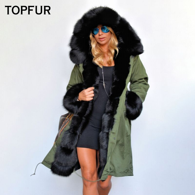 TOPFUR Navy Green Real Fur Parka Women Winter Rabbit Lining Fox Fur Collar Cuff Luxury Thick Fox Fur Parka Luxurious Casual Plus