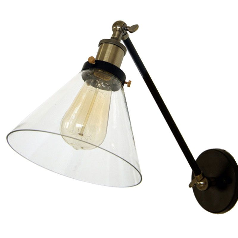 Wholesale Price Loft Vintage Industrial Edison Wall Lamps Clear Glass Lampshade Antique Copper Wall Lights ,adjustable Handle