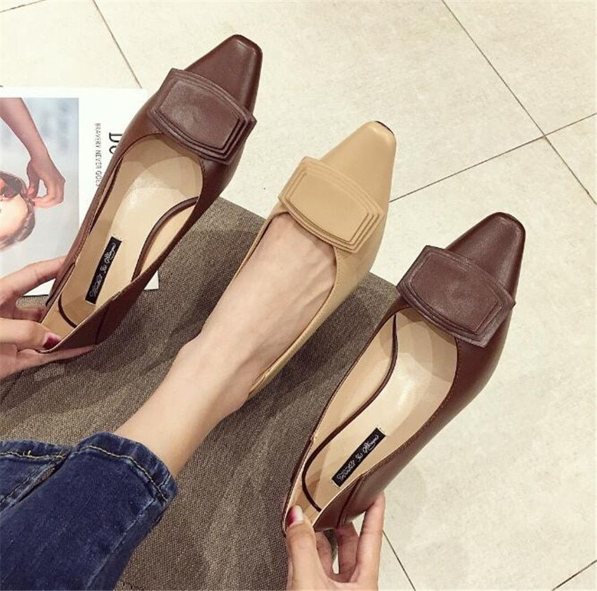 ZOUDKY 2018 south korean style Square heel shoes fashion Shallow mouth Sharp head Women's Shoes