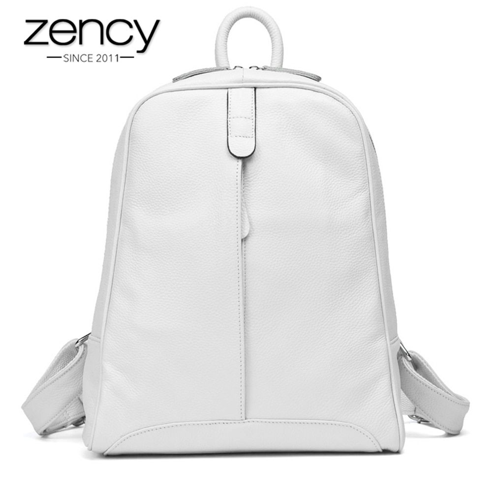 10Cls Fashion 100% Real Soft Genuine Leather Women Backpack Female Popular Style Ladies Laptop Bag Girls Notebook Mochilas <font><b>Mujer</b></font>