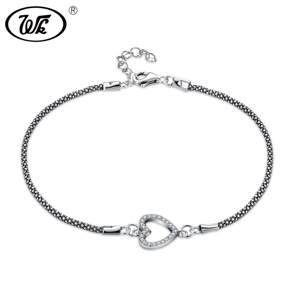 WK Einfache Vintage Thai Silber 925 Kubanischen Kette Link Armband Mit Hohl Herz Kreis Münze Charme Armbänder Für Frauen W4 NBY27