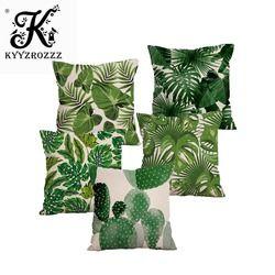 Tanaman Tropis Palm Daun Hijau Daun Monstera Sarung Bantal Bunga Kembang Sepatu Bantal Penutup Beige Linen Bantal Case