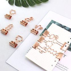 TUTU 12pcs/lot Solid Color Gold Metal Binder Clips 25mm fresh Style Flower Printed  Notes Letter Paper Clip Office Supplie H0056