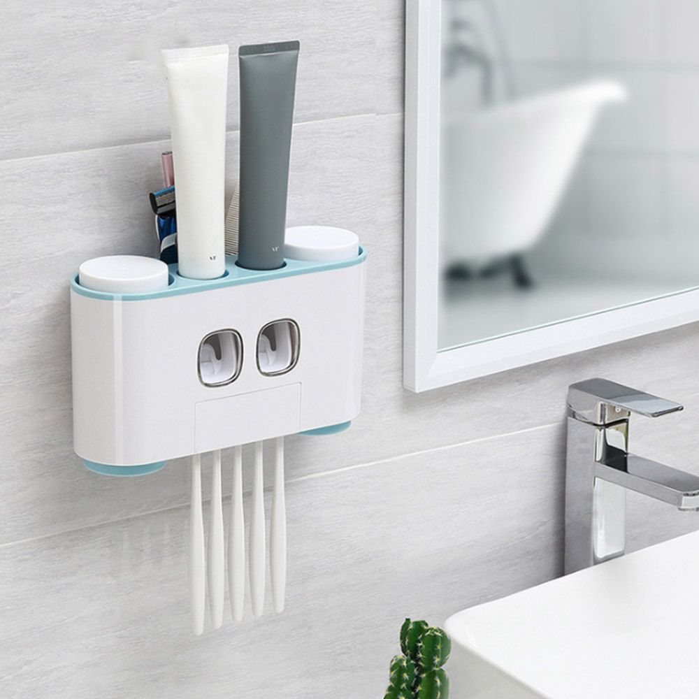 Bathroom Accessories Modern Stylish Wall Paste Mounted Toothbrush Holder Toothpaste Squeezer New