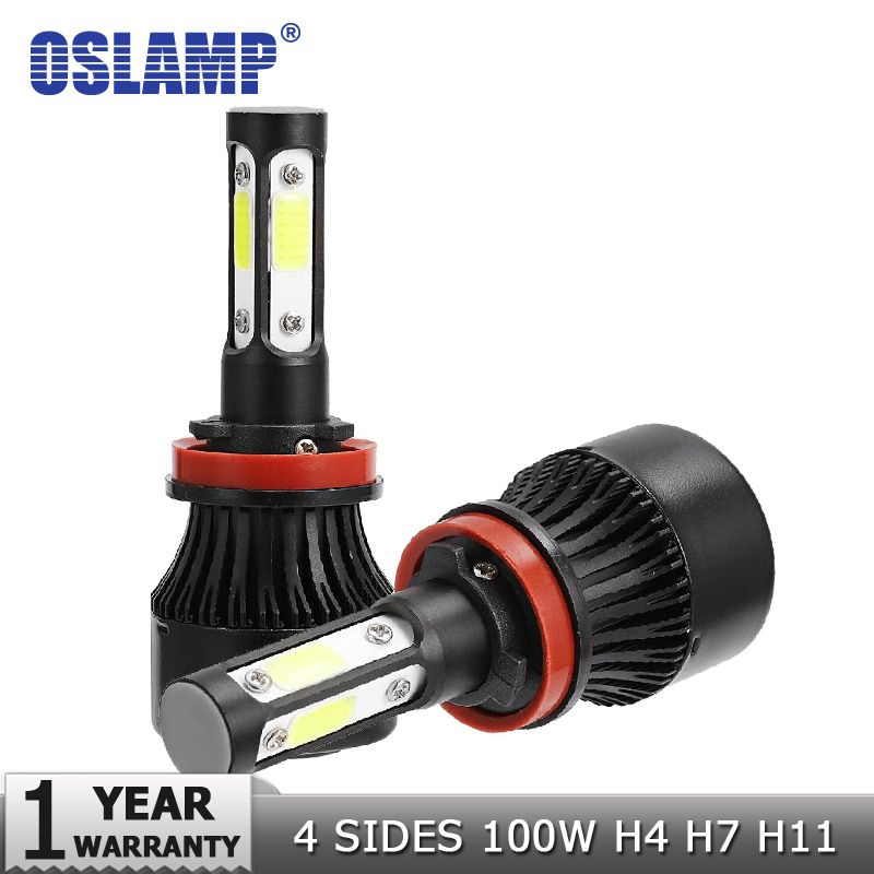 Oslamp New 4 Side Lumens COB 100W 10000lm H4 Hi lo H7 H11 9005 9006 Car LED Headlight Bulbs Auto Led Headlamp LED Light 12v 24v