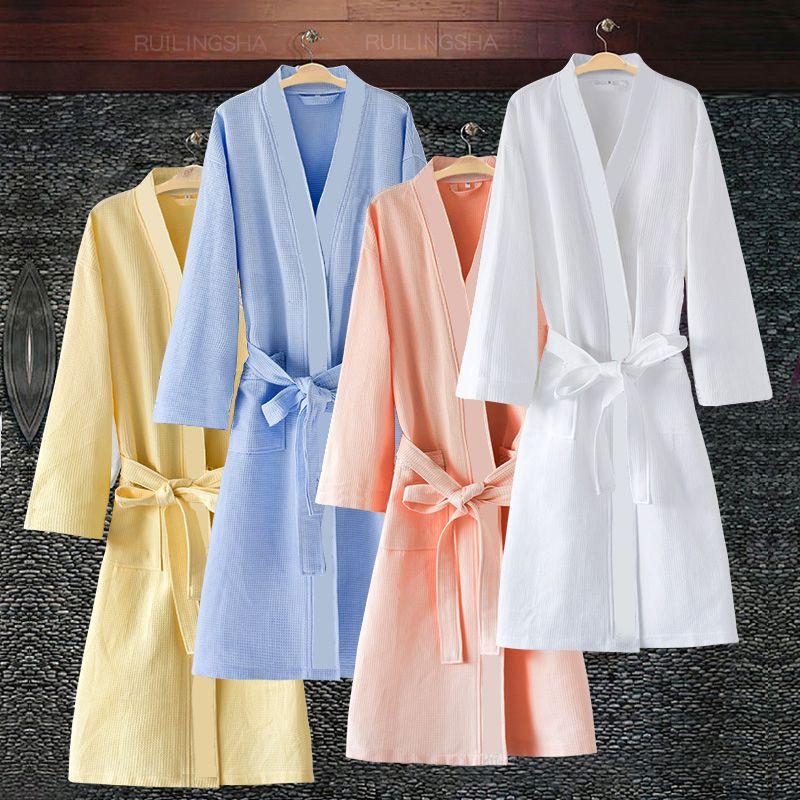 En Vente Hommes Femmes Sucer La Sueur Gaufre Peignoir Plus La Taille Sexy Kimono Peignoir Hommes Été Peignoir Mâle Salon Robes
