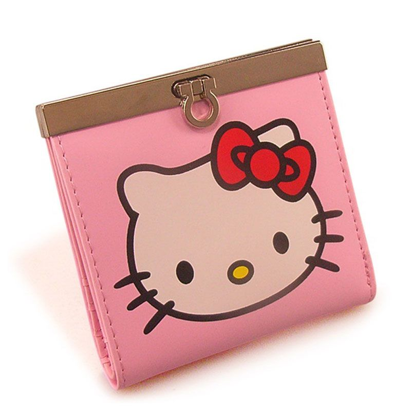 Teenage Girls Wallet Hello Kitty Short Design PU Leather Two Fold Female Purse Card Holder Money Bags with Cartoon Cat Pattern