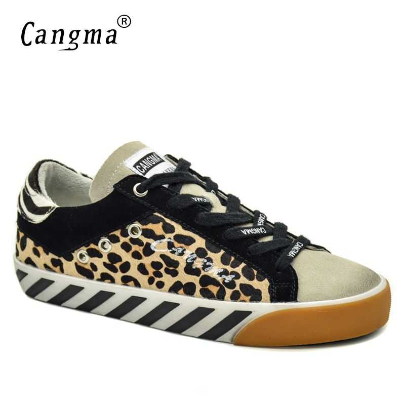 CANGMA Italian Brand Sneakers Women Vintage Leopard Flats Horsehair Leather Yellow Breathable Women Retro Shoes Large Size