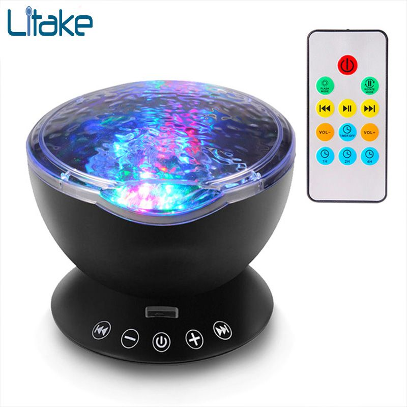Litake 7Colors LED Night Light Starry Sky Remote Control Ocean Wave Projector with Music Novelty baby lamp night lamp for kids
