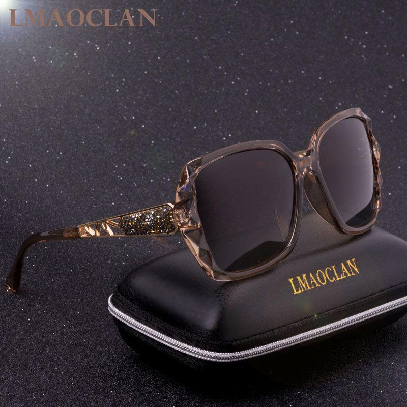Conception de marque de luxe HD lunettes de soleil polarisées femmes dames surdimensionné carré dégradé lunettes de soleil lunettes de soleil femme Oculos UV400