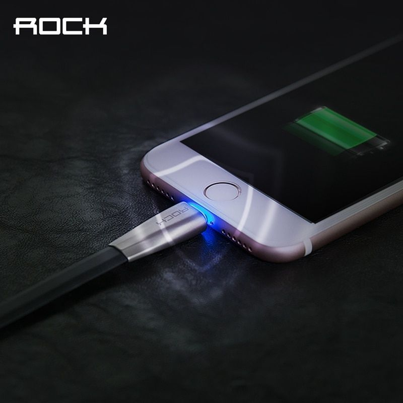 Auto Disconnect USB Cable for iPhone 8 7 6 plus, ROCK 2.1A Led Light Fast Charging USB Cable for iPhone Charger Data Sync Cable