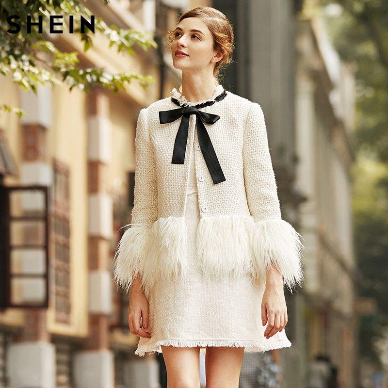 SHEIN White Faux Fur Trim Tweed Blazer 2017 New Winter Blazer for Woman Collarless Single Breasted Elegant Blazer